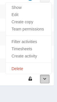 List actions appear as drop-up